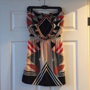 Express strapless tribal print dress